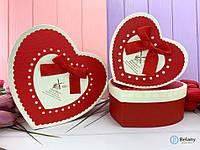 Коробка-сердце подарочная картонная красная MILL упаковка для подарка набор 3 шт разные размеры