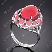 Серебряное кольцо с кораллом (им) и эмалью