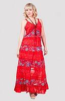 Оригинальный женский сарафан модного кроя из хлопка длинный в пол