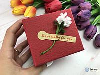 Коробка для бижутерии мелких подарков на 8 марта девушке красная для часов с подушкой коробка