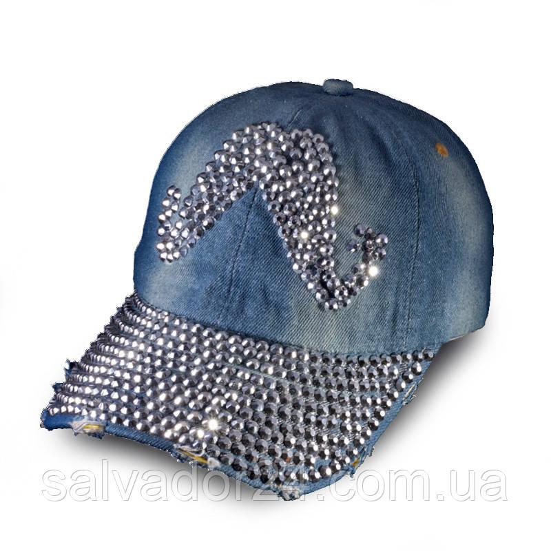 Женская джинсовая бейсболка Усы, кепка  Denim