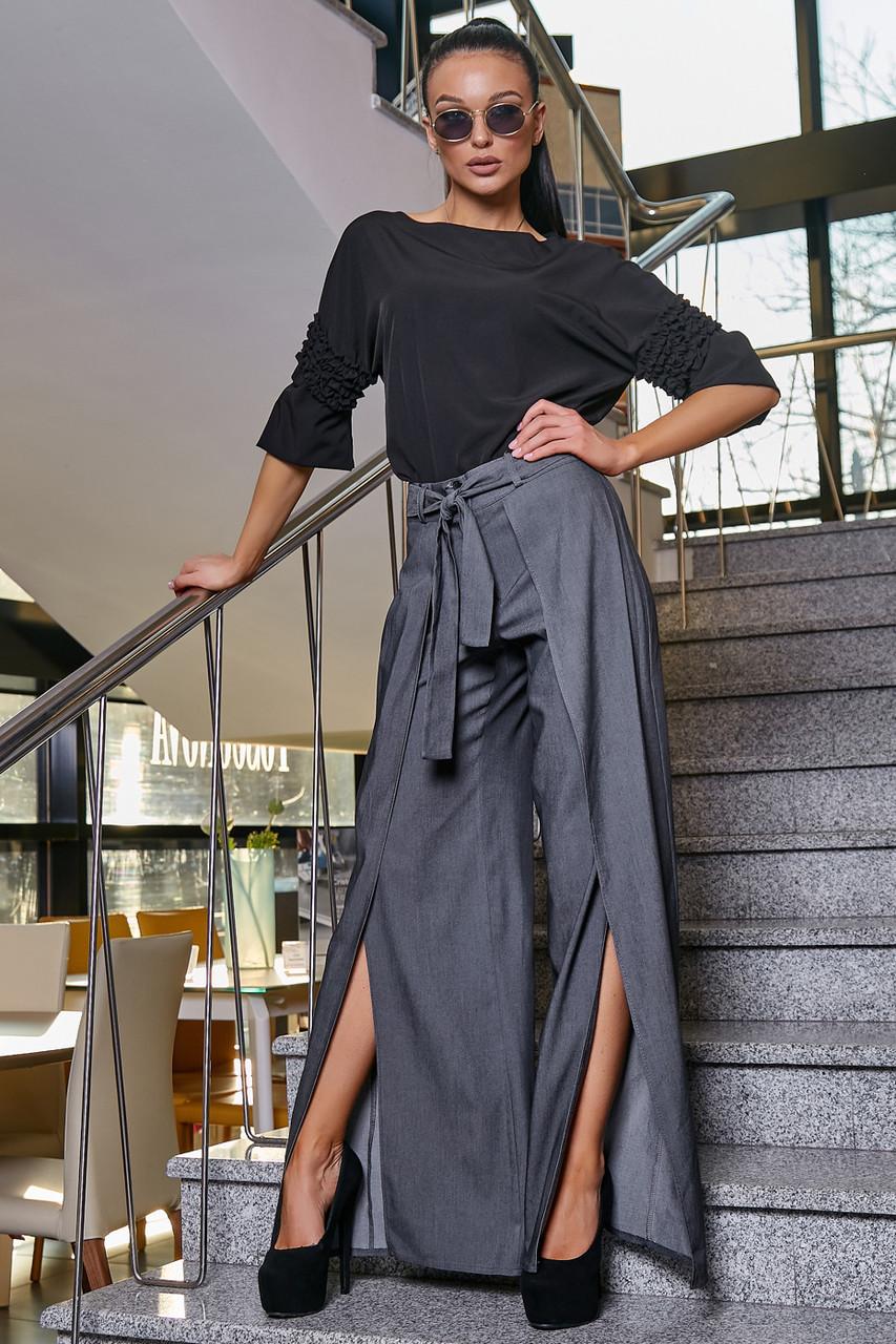Стильные нарядные коттоновые брюки с разрезами 3349 (42–48р) в расцветках