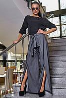Стильные нарядные коттоновые брюки с разрезами 3349 (42–48р) в расцветках, фото 1