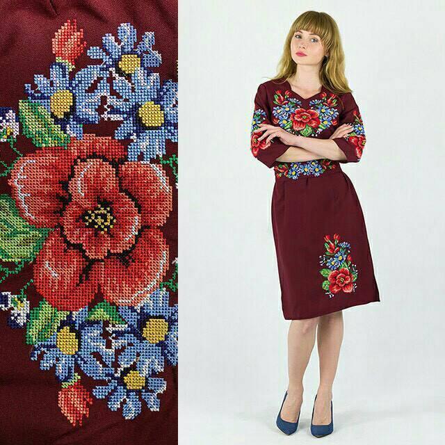 Современное вышитое платье для женщин, габардин