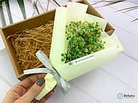 """Зеленые цветочки """"IN BOX #8"""" красивый букет из сухих цветов на подарок в коробке"""