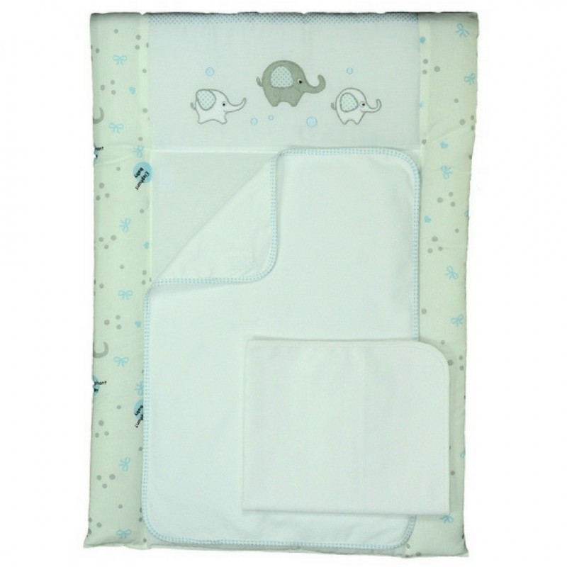 Пеленальный матрас для новорожденных тканевый Veres Elephant family blue
