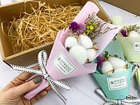 Из сухоцветов букет на подарок розовый цветочная композиция