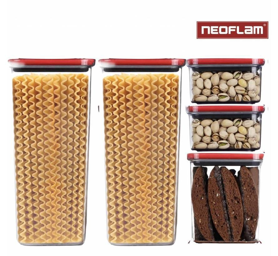 Набор емкостей для круп 5 шт Neoflam 0.84L*2/ 1.8L/ 3.6L*2