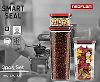 Кухонный набор емкостей для круп Neoflam 0.6L/ 2.1L/ 2.8L 3 штуки