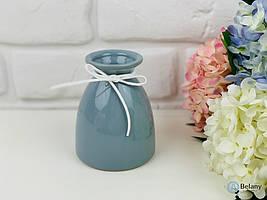 """Керамическая ваза """"FOREVER"""" голубая ваза для цветов красивая ваза с бантиком"""