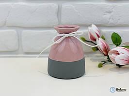 """Ваза для цветов """"FOXY"""" керамическая розово-серая ваза хороший подарок"""