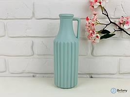 """Ваза из керамики """"HAND BOTTLE"""" матово-голубая ваза с ручкой хороший подарок на любой праздник"""