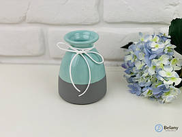 """Двохцветная керамическая ваза """"FOXY"""" голубой с серым ваза из керамики для цветов"""