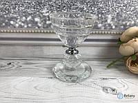 Декоративный стеклянный подсвечник маленький для украшения дома интерьера в форме бокала