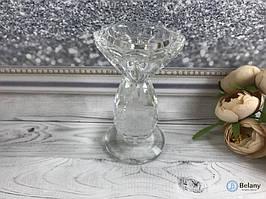 Подсвечник стеклянный декоративный большой для украшения дома интерьера в форме вазы