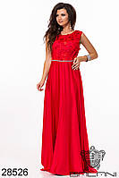 Вечернее платье красное шёлковое с вышивкой по сетке в пол