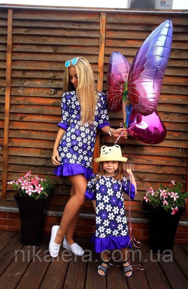 Молодежное платье Ромашки из ткани стрейч-джинс рр 42-44