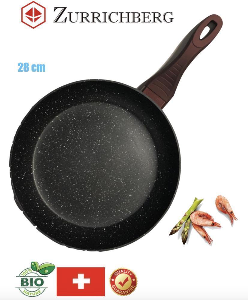 Мраморная Сковородка универсальная 28 см Zurrichberg ZB 7031L антипригарная качественная круглая без крышки