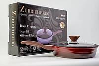 Сковорода для тушки красная 28 см Zurrichberg ZB 4005 круглая с крышкой высокая мраморная