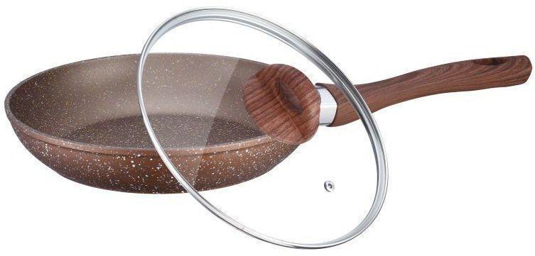 Гранитная сковорода с крышкой большая Peterhof Vulkano PH-25318-28 коричневая