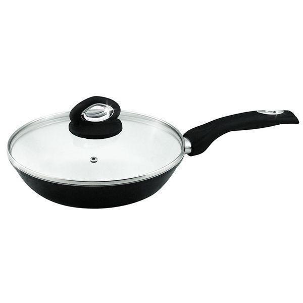 Сковорода универсальная 26 см Barton Steel BS-7046 прорезиненная ручка керамическая черная