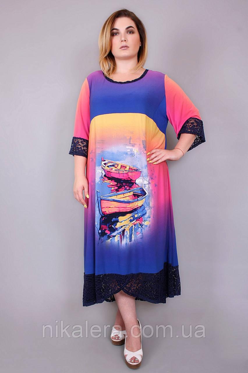 Летнее платье с красивым принтом,рр 62-68