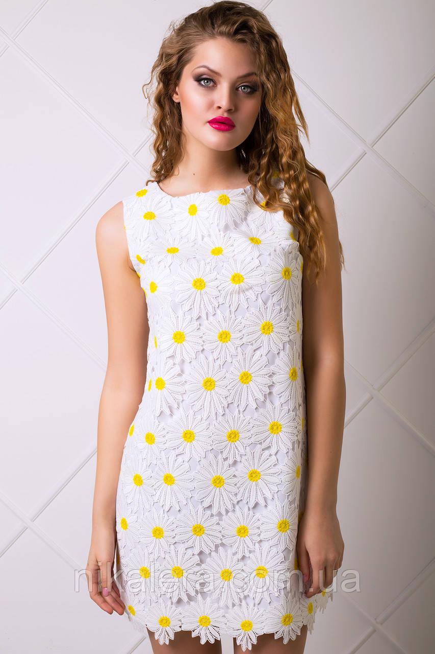 Очень милое платье с ажурной тканью в ромашки