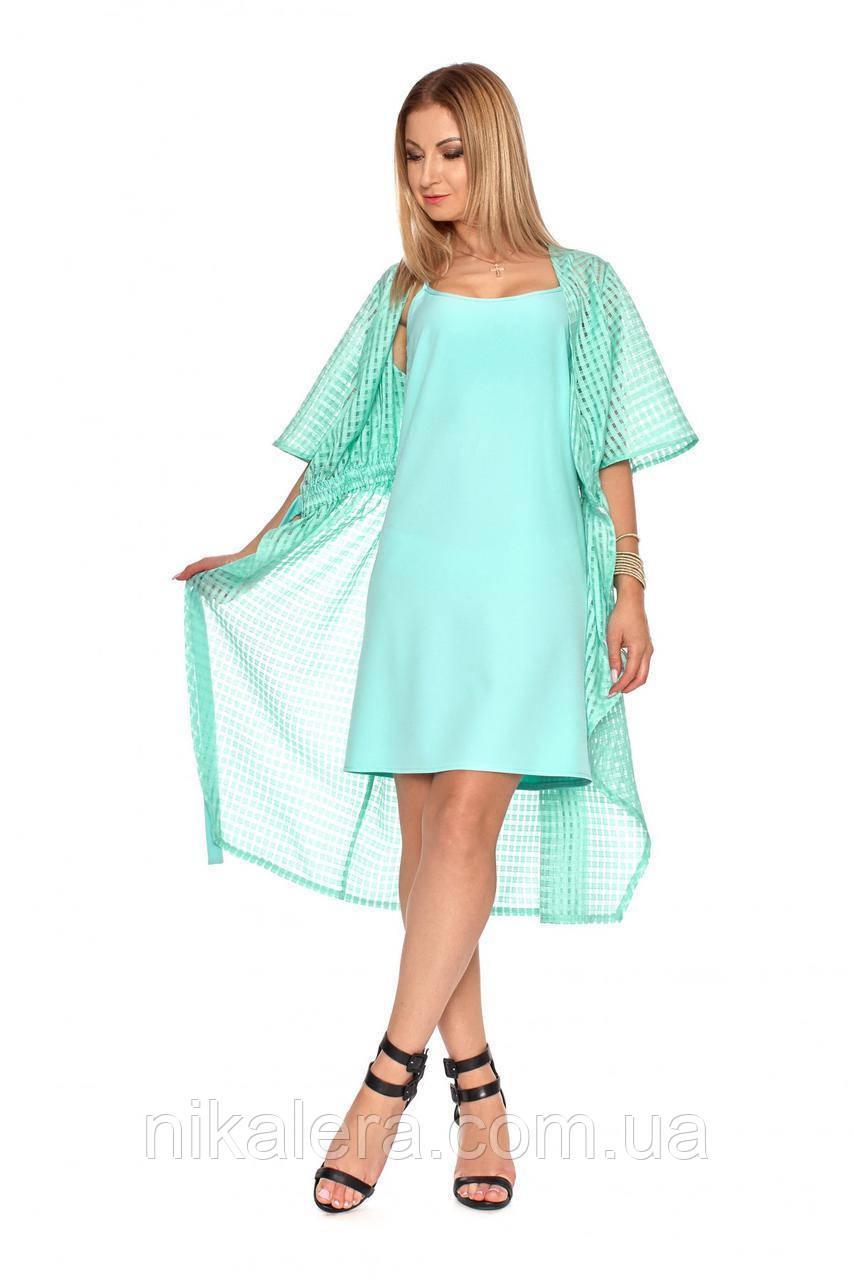 Платье с накидкой из сетки  рр 42-50