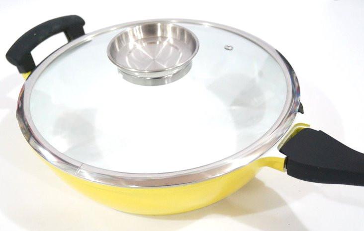 Сковородка сотейник Swiss Zurich SZ-18811 24W с керамическим покрытием с крышкой 2 ручки