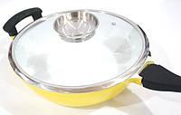 Сковородка сотейник Swiss Zurich SZ-18811 24W с керамическим покрытием с крышкой 2 ручки, фото 1