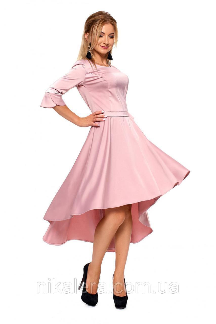 Платье с юбкой полусолнце из ткани шелк
