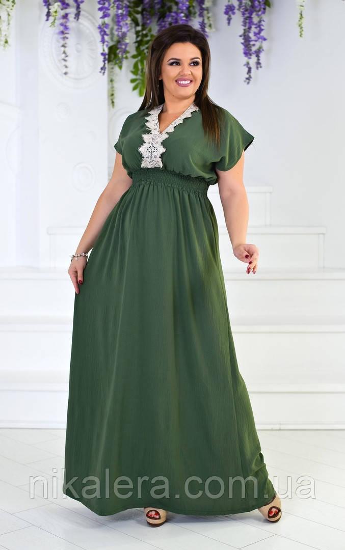 Платье с отделкой из кружева рр 50-54