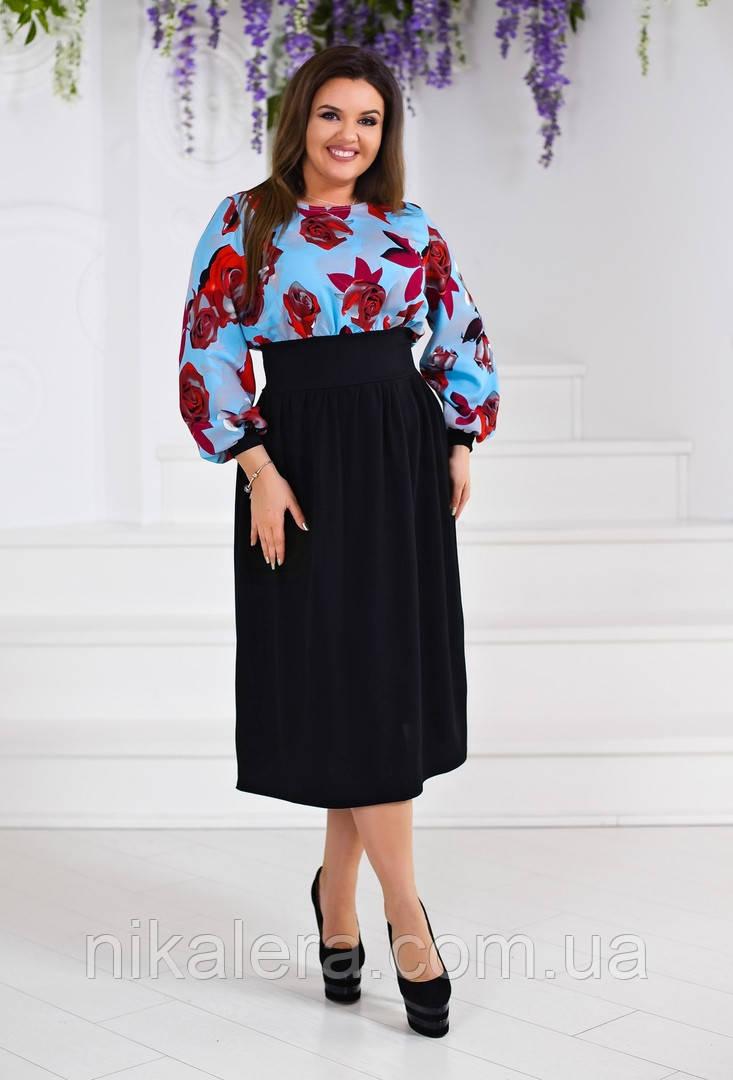Красивое платье комбинированное рр 50-54