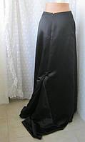 Юбка женская вечерняя черная макси до пола шлейф р.40-44, фото 1