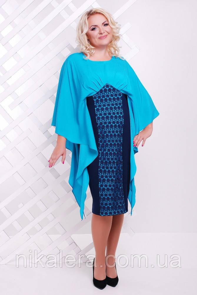 Женское платье с шифоном большого размера 50 - 58,