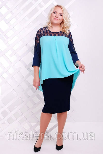 Красивое женское платье из  шифона и гипюра,  размера 50 - 58
