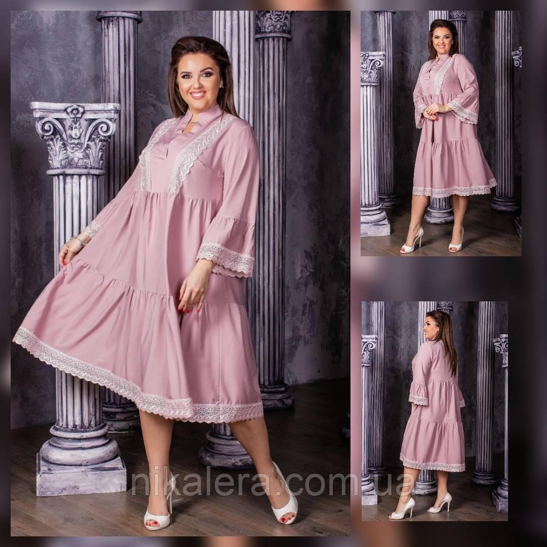 Женское платье свободного кроя с макраме  рр 50-60