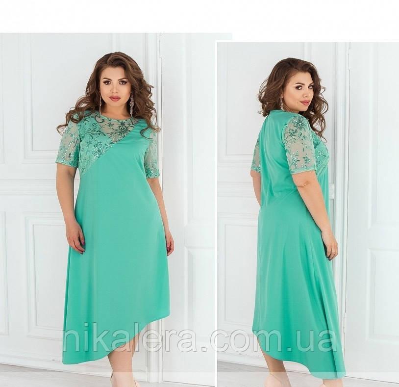Платье с асимметричным подолом и блестящей вышивкой  рр 50-62