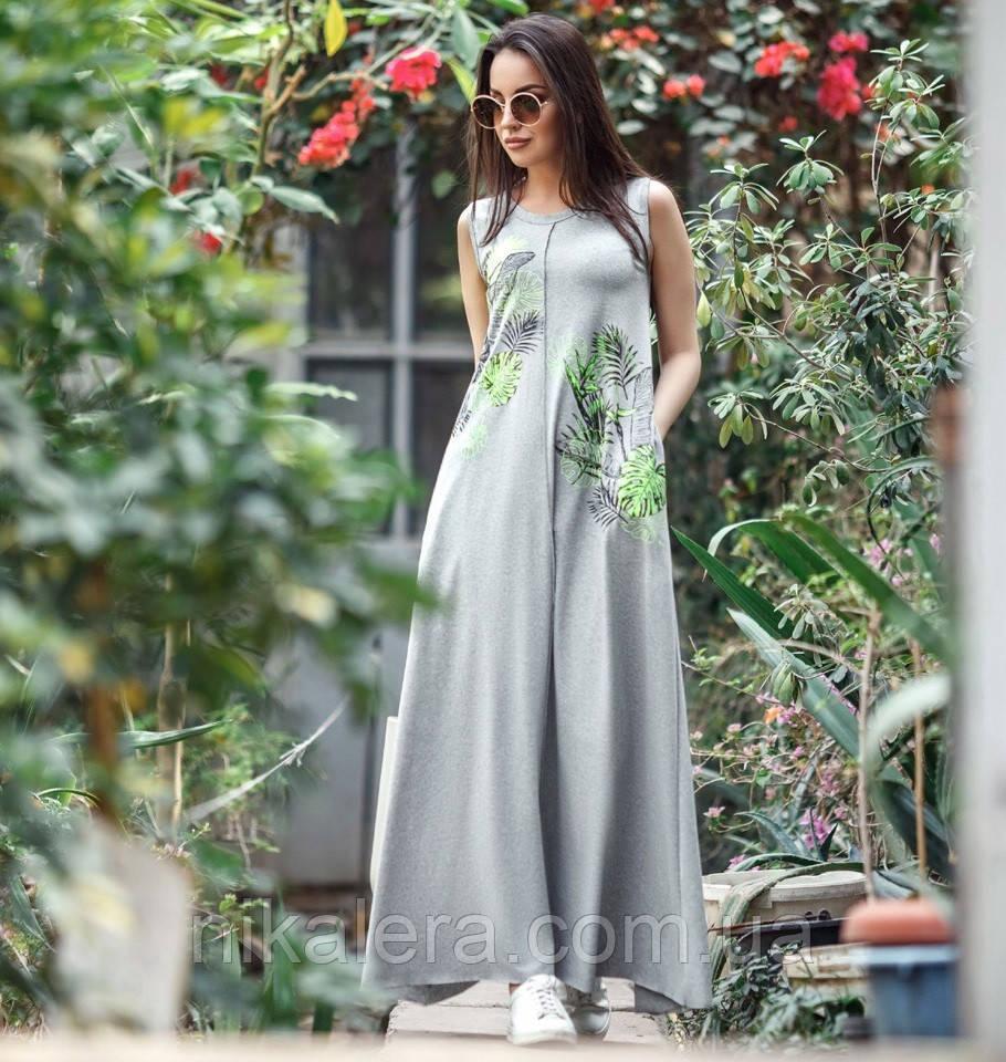 Женское летнее удлиненное платье из вискозы рр 42-50