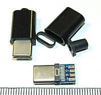JC018 Штекер USB Type C 3.1 USB-C разъем роз'єм коннектор питания зарядки папа Черный