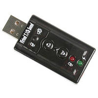 USB Звуковая карта 7.1 3D звук регулятор громкости (z01166)