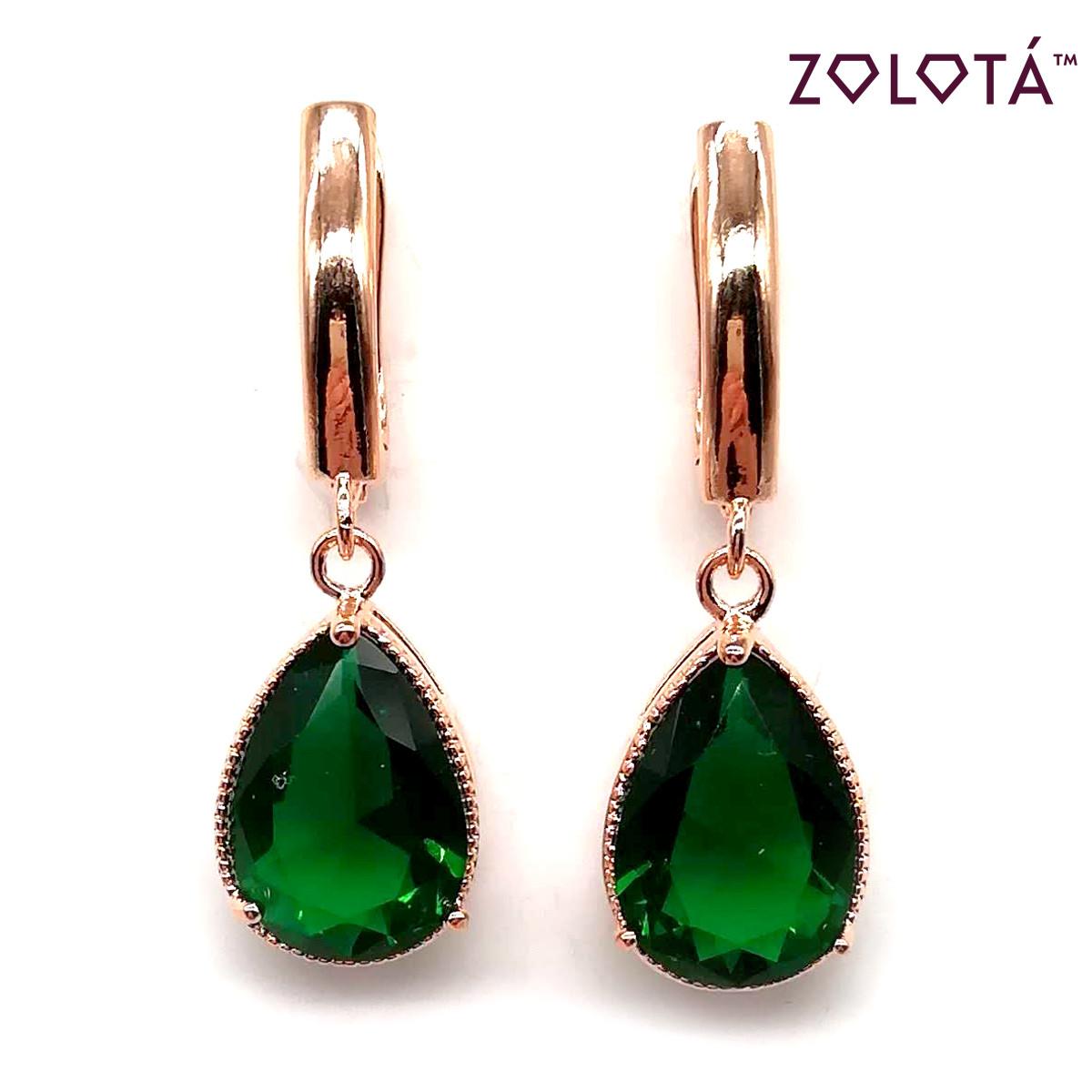 Серьги Zolota с насыщенно-зелеными фианитами (куб. цирконием), из медицинского золота, в позолоте, ЗЛ00049 (1)