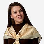 """Павлопосадский платок шелковый """"Белый шиповник"""" рис. 1047-0 (крепдешин) размер 89х89 см, фото 2"""