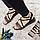 Женские сандали на низкой танкетке искусственная замша коричневые леопардовые черные, фото 4