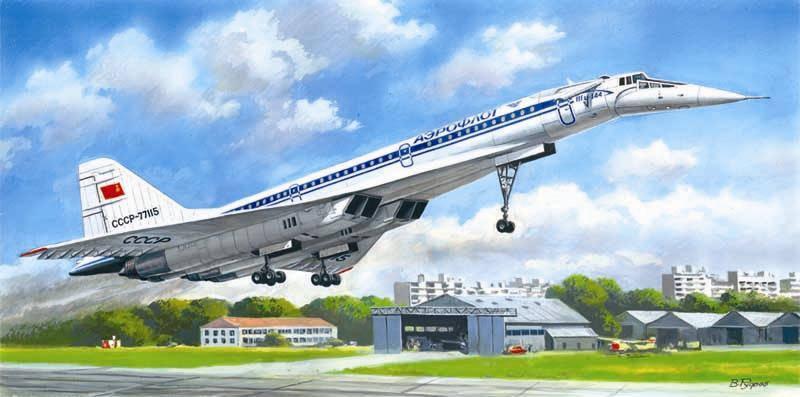 Советский сверхзвуковой пассажирский самолет Туполев-144Д. 1/144 ICM 14402, фото 2