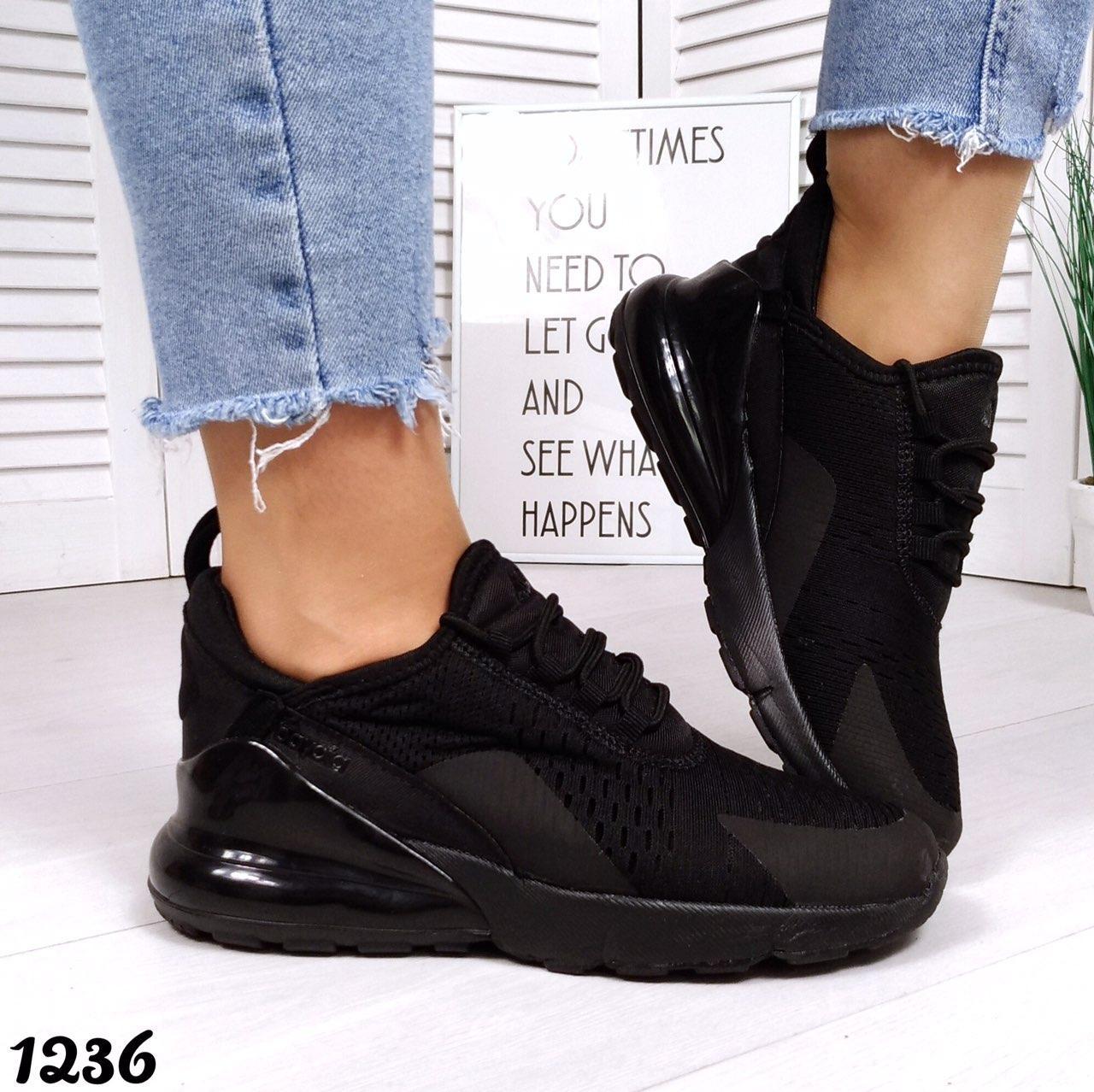 Женские черные кроссовки сетка в стиле Nike