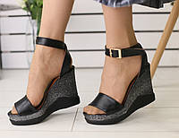 Женские босоножки на платформе, материал - натуральная кожа, FS-5512. Черный