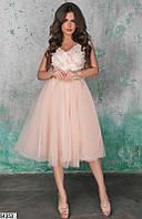 e043ae4e593 Promo Вечернее платье миди пышная юбка открытая спина без рукав бежевого  цвета