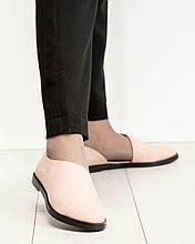 Туфли женские с вырезом пудра
