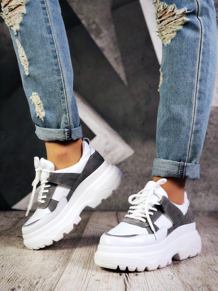Женские кожаные белые кроссовки Casual Lux для городского образа